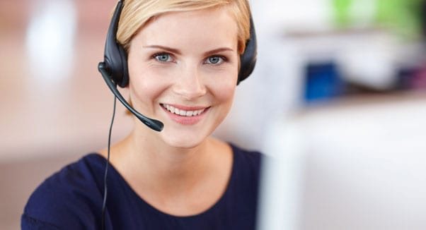 Customer support lady on the phone