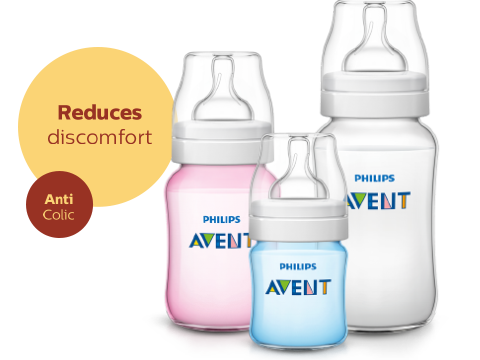 Philips Avent Natural Baby Bottle reduces discomfort and is anti colic