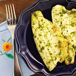 Grilled fish fillet with pesto sauce