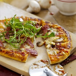 Pizza with Salami and Mushrooms