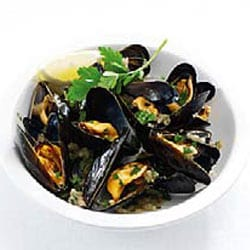 Mussels with salsa verde