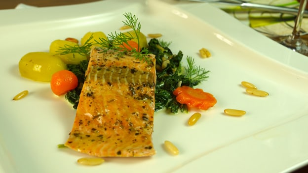 Steamed salmon with chard sauce